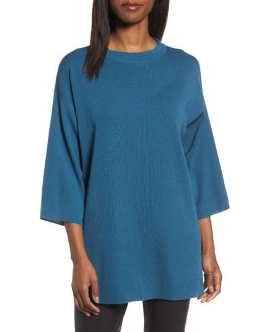 Eileen Fisher | Blue Merino Wool Tunic | Lyst