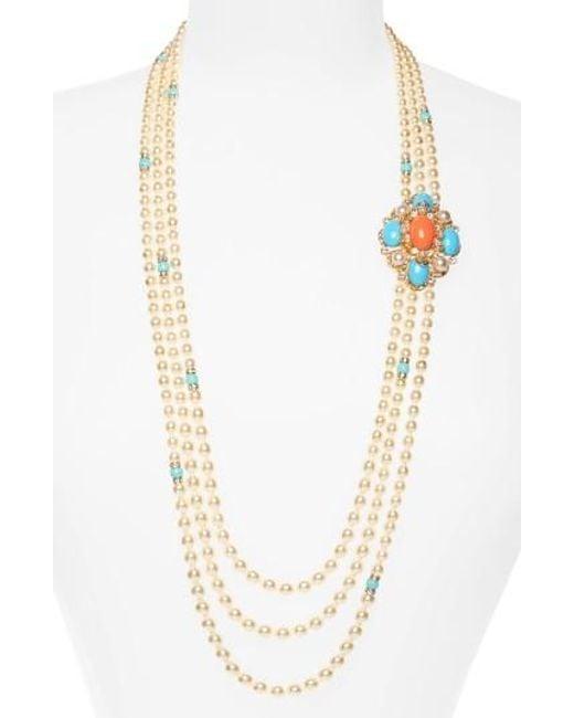 Ben-Amun | Metallic Adriatic Sea Multisrand Imitation Pearl Necklace | Lyst