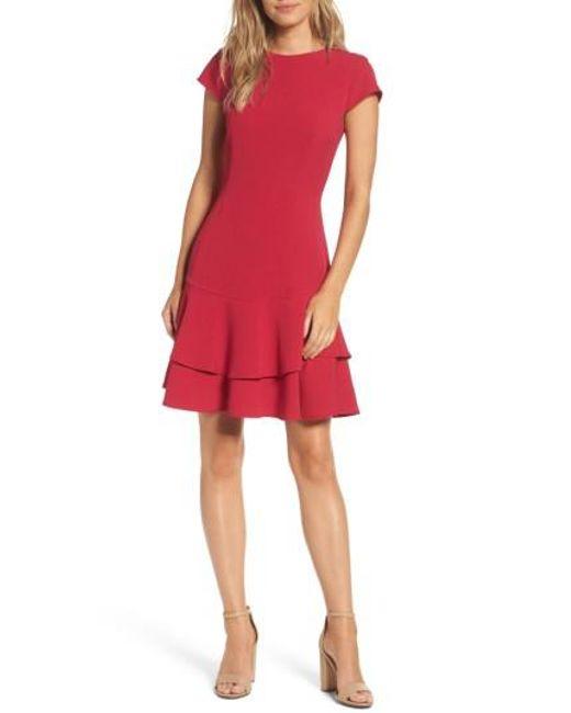 Eliza J   Red Stretch Crepe Sheath Dress   Lyst