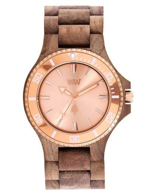 WeWood   Metallic Date Mb Wood Bracelet Watch   Lyst