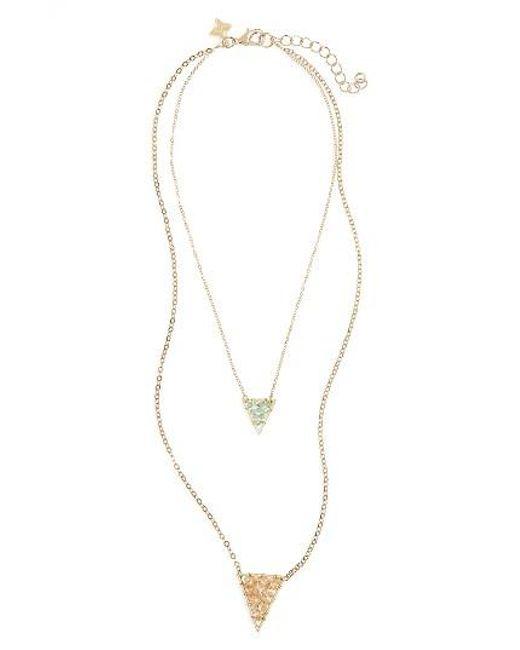Panacea   Metallic Crystal Pendant Layered Necklace   Lyst