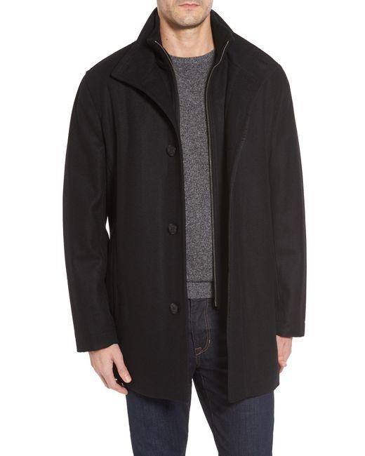 Cole Haan - Black Melton Wool Blend Coat for Men - Lyst