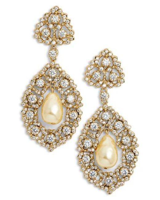 Nina - Metallic Rococo Double Drop Imitation Pearl Earrings - Lyst