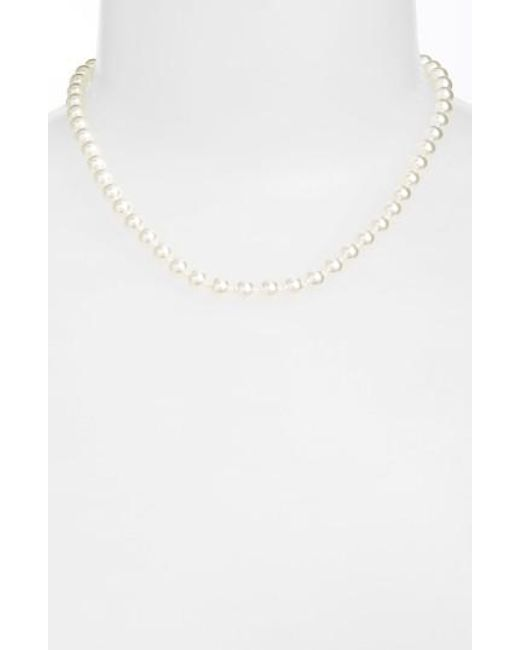 Nadri | White 16-inch Glass Pearl Strand Necklace | Lyst