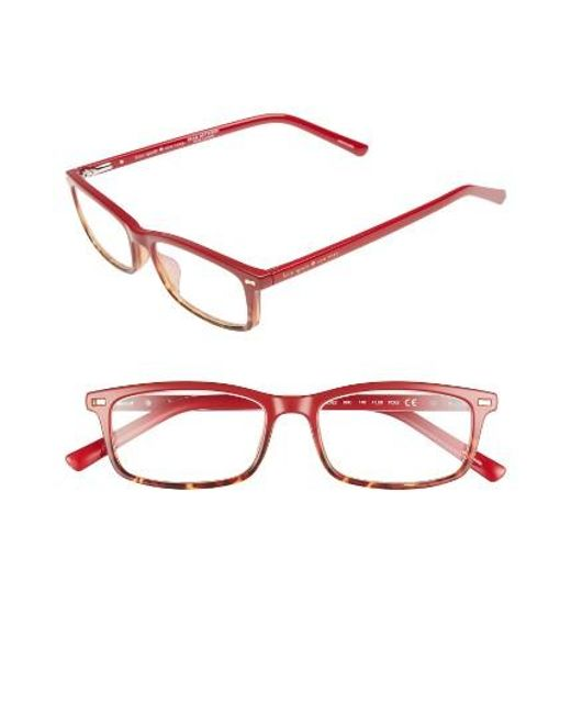 Kate Spade | Red Jodie 50mm Rectangular Reading Glasses | Lyst