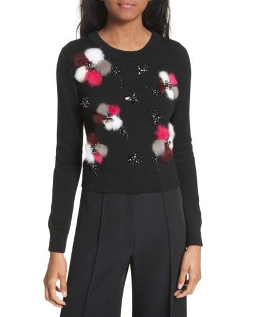 MILLY | Black Beaded Wool Sweater With Genuine Rabbit Fur Trim | Lyst