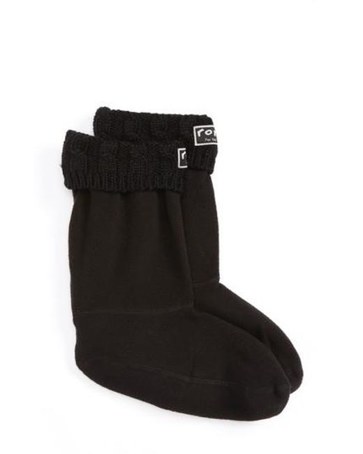 Roma | Black Knit Collar Fleece Boot Socks | Lyst