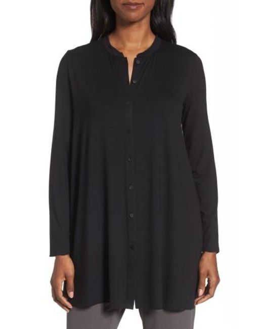 Eileen Fisher   Black Button Front Jersey Tunic   Lyst