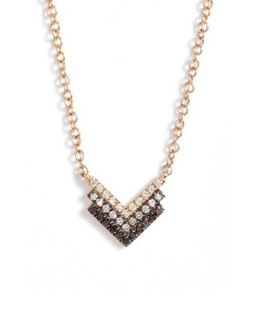 EF Collection   Metallic Diamond Shield Pendant Necklace   Lyst