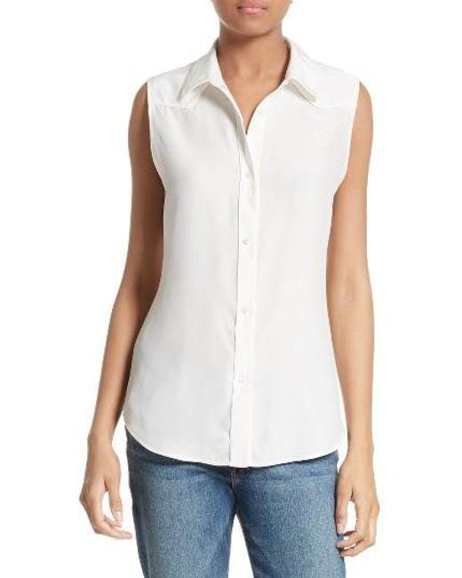FRAME | White Silk Sleeveless Western Shirt | Lyst