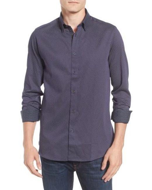 Ted Baker | Blue Modern Slim Fit Print Sport Shirt for Men | Lyst