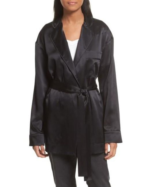 Robert Rodriguez   Black Silk Satin Robe Jacket   Lyst