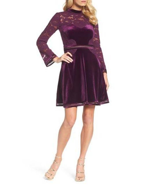 Tadashi Shoji   Purple High Neck Lace & Velvet Cocktail Dress   Lyst
