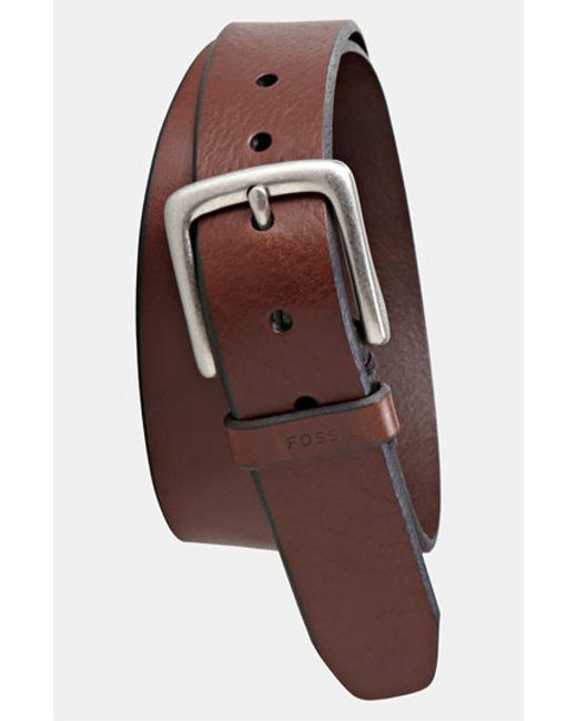 Fossil | Metallic 'joe' Leather Belt for Men | Lyst