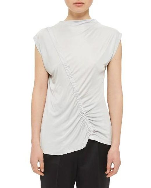 TOPSHOP   Gray Ruched Front Top   Lyst