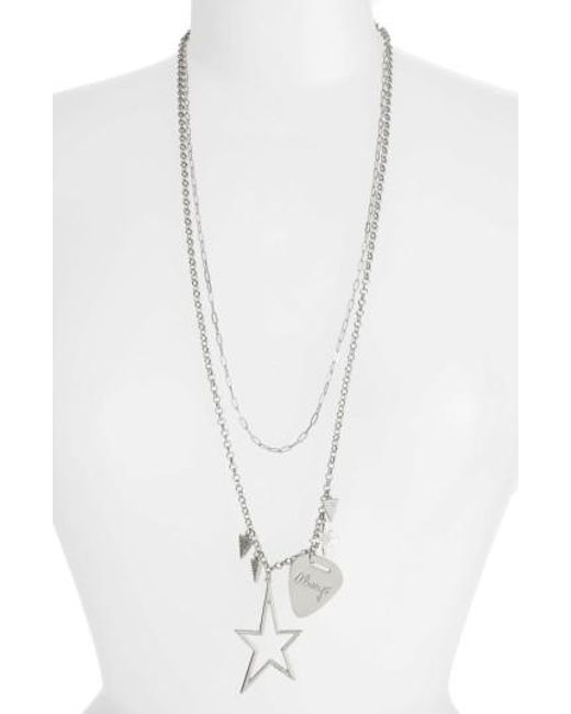 Rebecca Minkoff | Metallic Guitar Pick Charm Necklace | Lyst