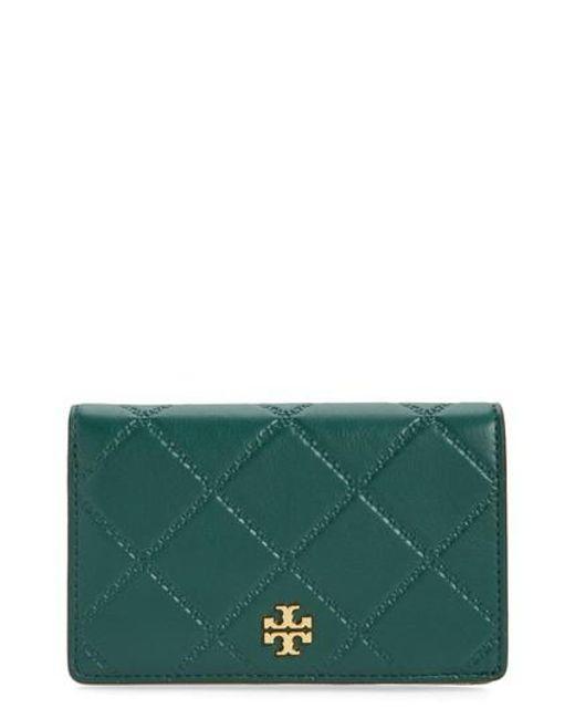 Tory Burch | Green Medium Georgia Slim Leather Wallet | Lyst