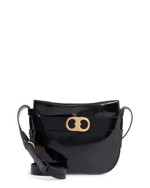 Tory Burch | Black Gemini Link Patent Leather Crossbody Bag | Lyst