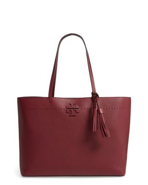 Tory Burch | Red Mcgraw Leather Tote - Burgundy | Lyst