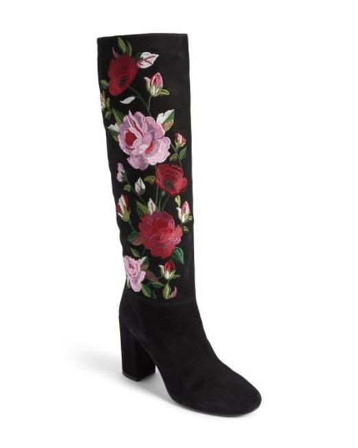 Kate Spade   Black Greenfield Flower Embroidered Boot   Lyst