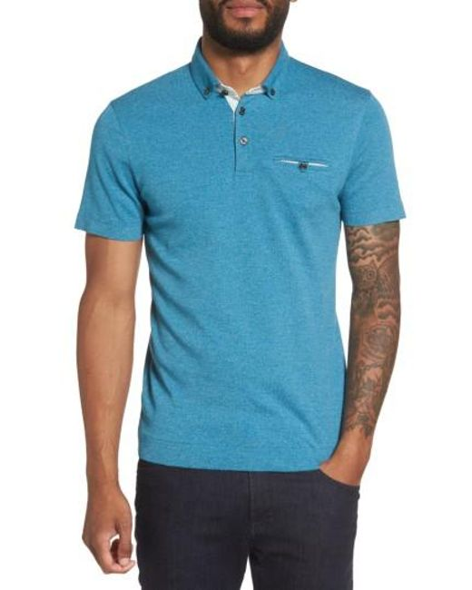 Ted Baker | Blue Frankiy Button Collar Polo for Men | Lyst