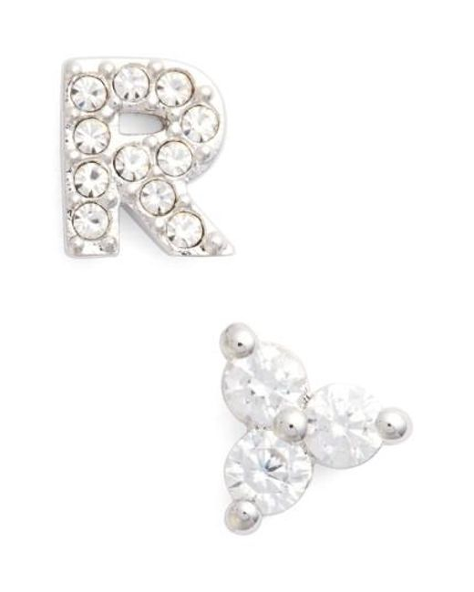 Nadri | Metallic Initial Mismatched Stud Earrings | Lyst