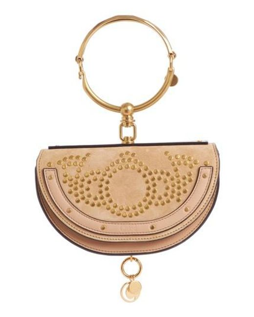 Chloé | Natural Small Nile Studded Suede & Leather Crossbody Bag | Lyst