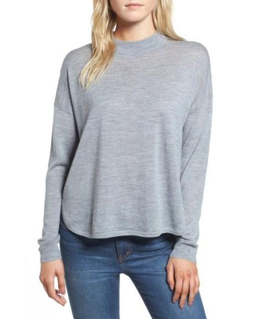 Madewell   Blue Mock Neck Boxy Pullover   Lyst