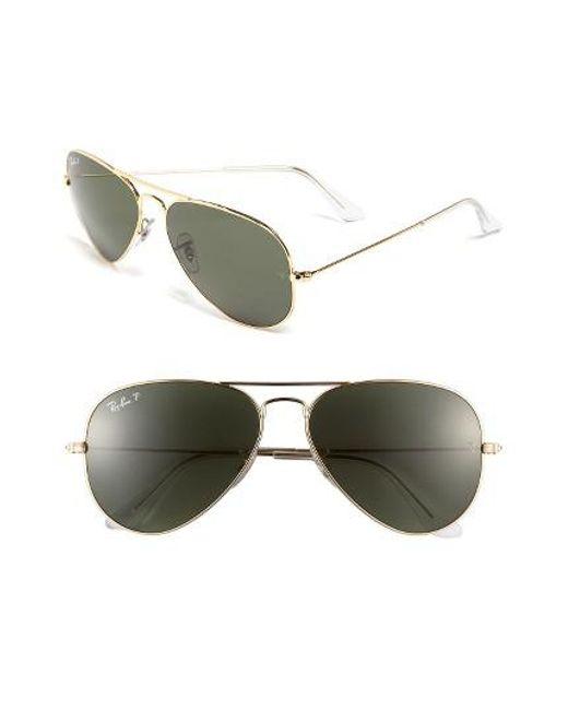 Ray-Ban | Metallic Original 58mm Polarized Aviator Sunglasses | Lyst