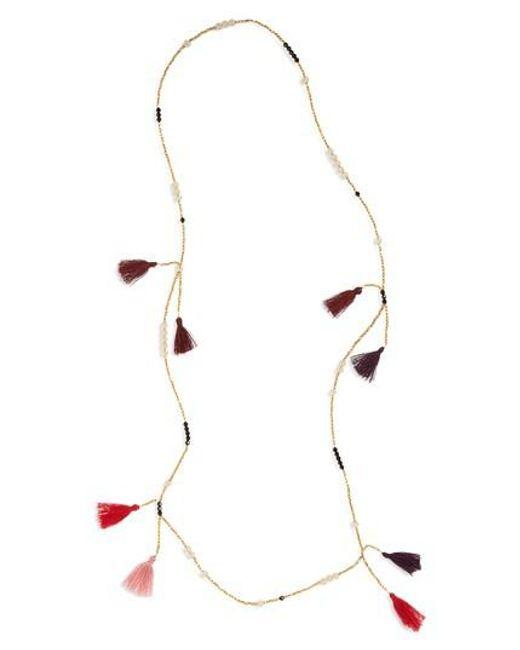 Panacea | Metallic Tassel Bead Necklace | Lyst
