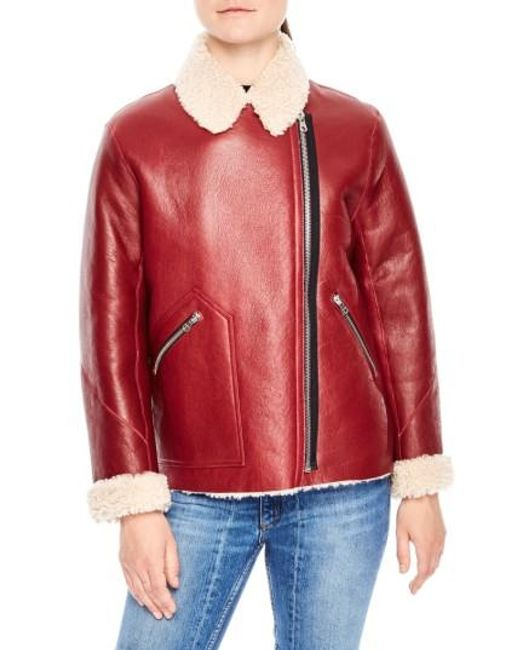 Sandro | Red Genuine Shearling Jacket | Lyst