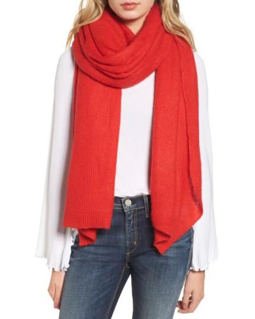 Free People | Red Kennedy Waffle Knit Scarf | Lyst