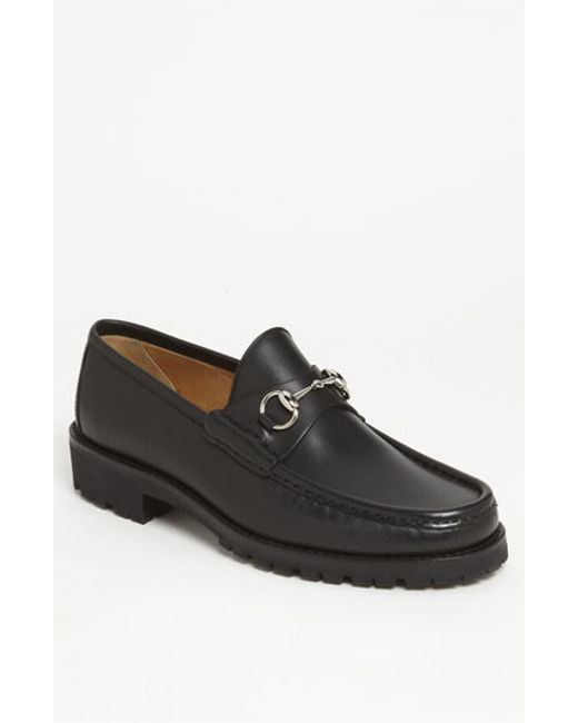 Gucci | Black Classic Lug Sole Moccasin for Men | Lyst