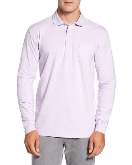 Peter Millar | Purple Mountainside Long-sleeve Pocket Polo for Men | Lyst