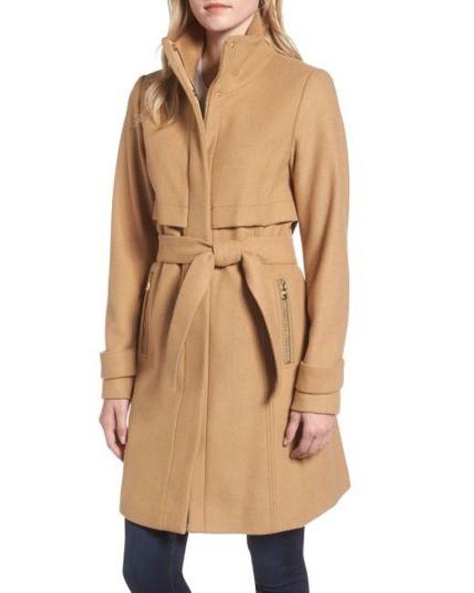 Vince Camuto | Natural Flange Belted Coat | Lyst