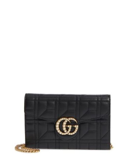 Gucci | Black Mini Gg Marmont 2.0 Imitation Pearl Matelasse Leather Crossbody Bag | Lyst