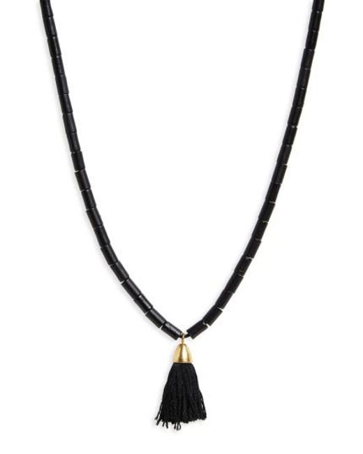Madewell   Black Adjustable Bead Tassel Necklace   Lyst