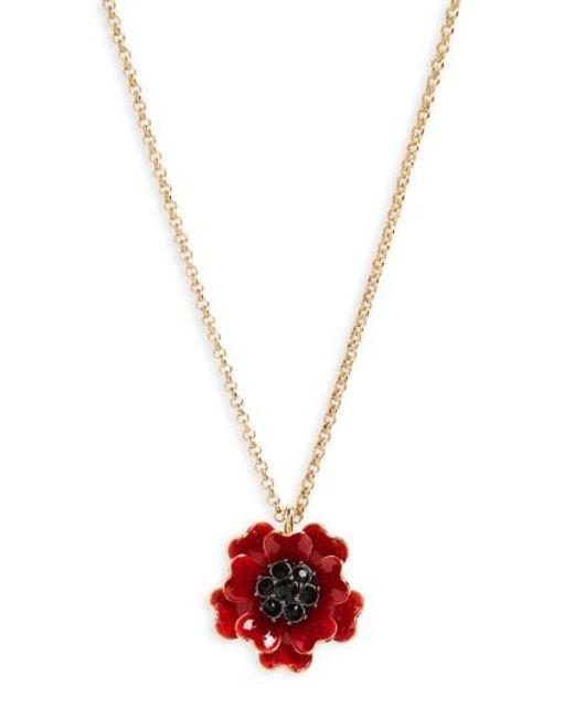 Kate Spade | Metallic Precious Poppies Pendant Necklace | Lyst