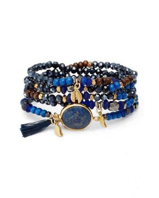 Nakamol | Blue Crystal & Lapis Stretch Bracelet | Lyst