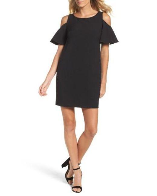 Chetta B   Black Ruffle Cold Shoulder Shift Dress   Lyst