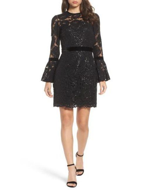 Tadashi Shoji   Black Bell Sleeve Rose & Sequin Lace Dress   Lyst