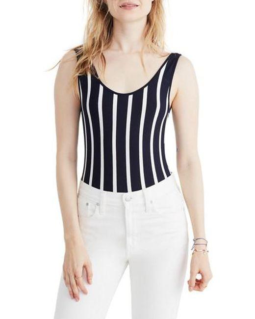 Madewell - Blue Stripe Scoop Back Bodysuit - Lyst