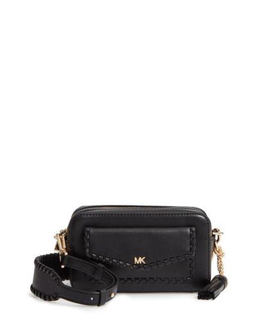 b770b0f17547 Lyst - Michael Michael Kors Small Leather Camera Bag - in Black
