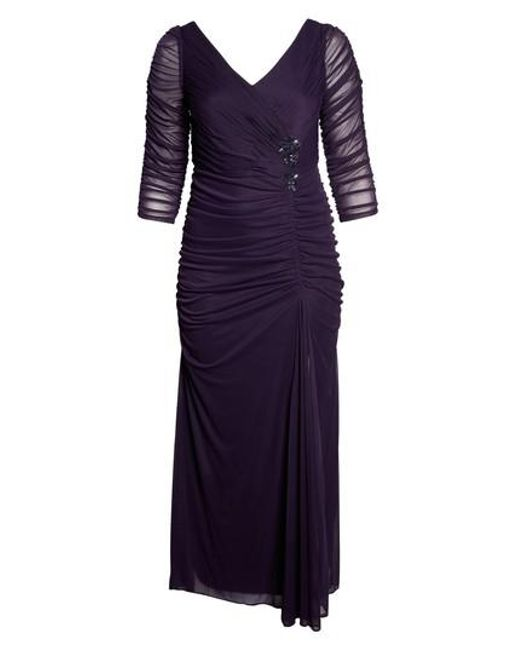 Adrianna Papell - Blue Beaded Mesh Gown - Lyst