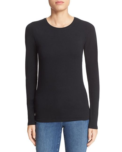 Majestic Filatures | Black Long Sleeve Crewneck Top | Lyst