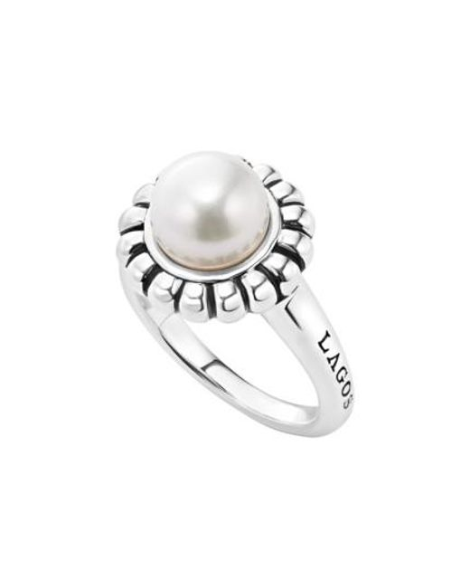 Lagos   White 'luna Pearl' Fluted Ring   Lyst