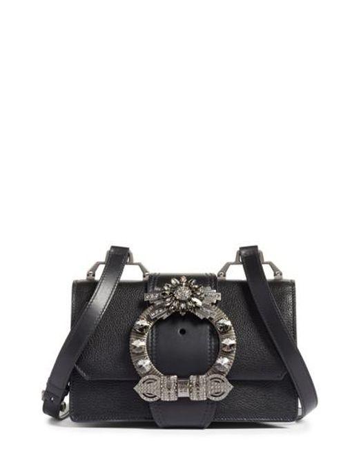 b34d79157ea2 Miu Miu Madras Crystal Embellished Leather Shoulder Bag in Black - Lyst