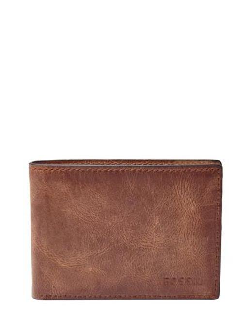 Fossil - Brown 'derrick' Leather Front Pocket Bifold Wallet - for Men - Lyst