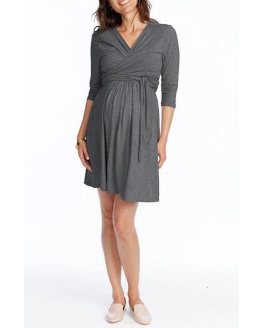 Rosie Pope - Gray Maternity/nursing Wrap Dress - Lyst