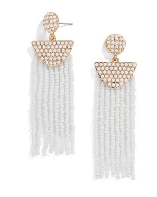 BaubleBar   White Beaded Deco Drop Earrings   Lyst